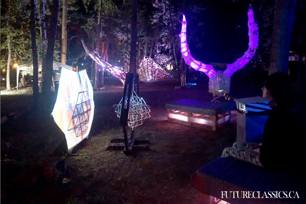 Rotating 3D sacred geometry and a wooden deer skull whose shifting lights responded to heartbeat.